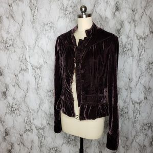 Aqua black cherry crushed velvet blazer Sz L
